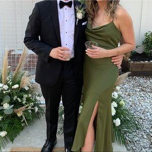 Spaghetti Strap Cowl Slip Dress with Slit Hunter